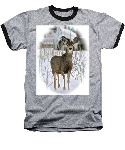Winter Deer On The Tree Farm Baseball T-Shirt