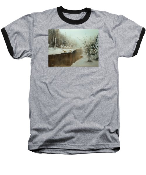 Winter Deer Run Baseball T-Shirt by Chris Fraser