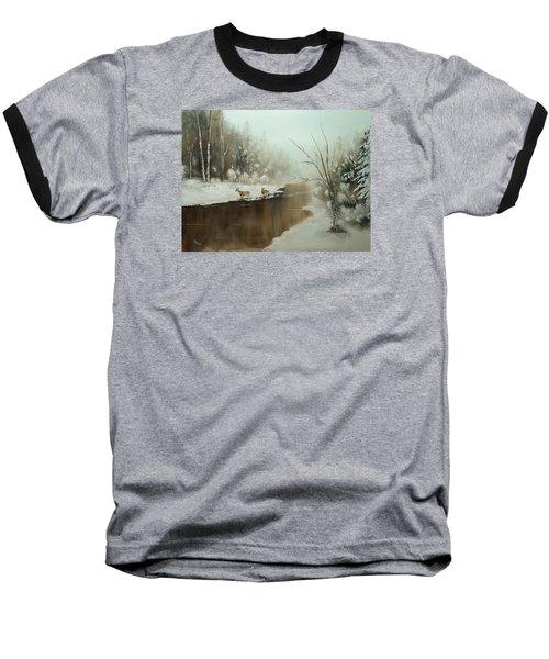 Winter Deer Run Baseball T-Shirt
