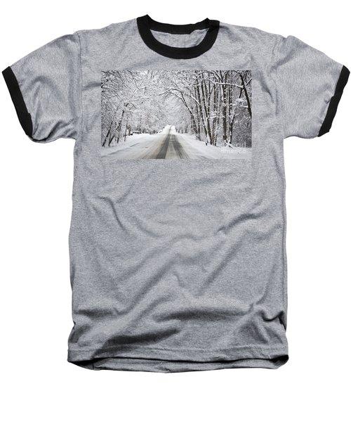 Winter Drive On Highway A Baseball T-Shirt