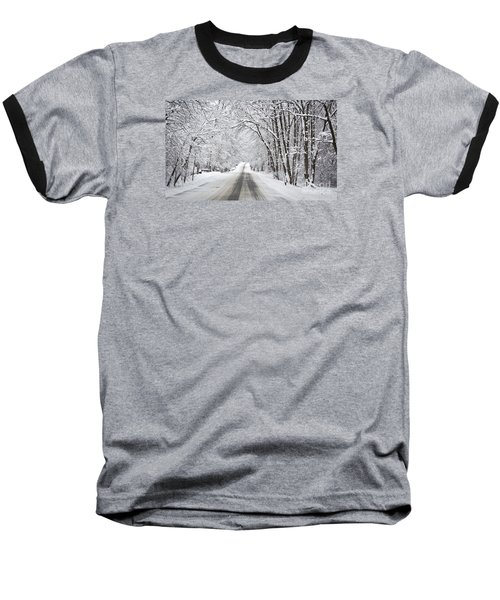 Winter Drive On Highway A Baseball T-Shirt