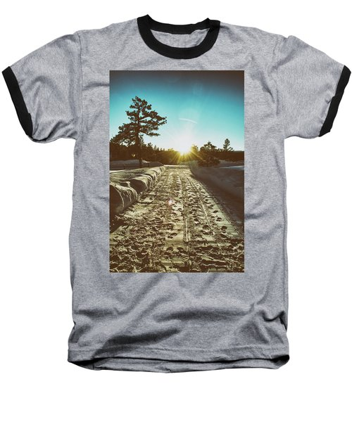 Winter Driveway Sunset Baseball T-Shirt