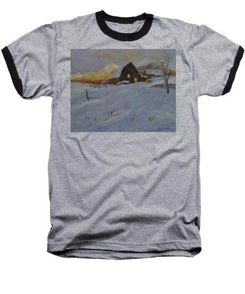 Winter Dusk On The Farm Baseball T-Shirt