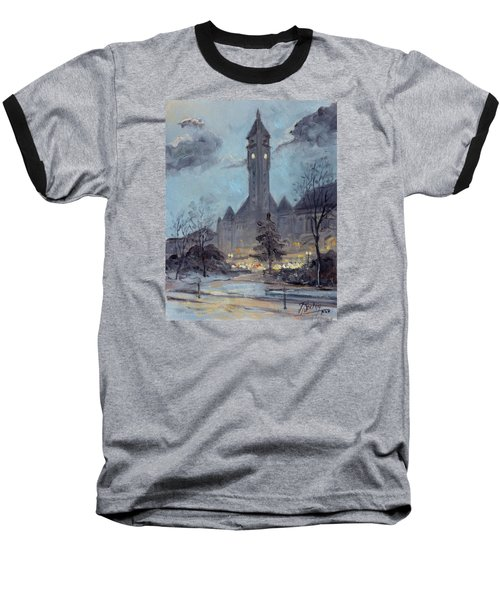 Winter Dusk - Union Station Baseball T-Shirt by Irek Szelag