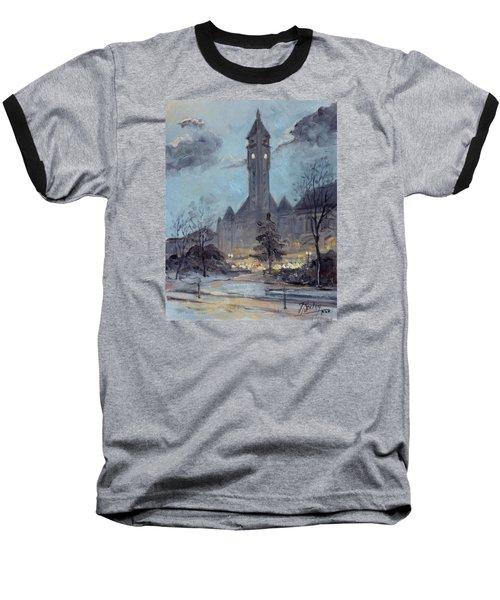 Winter Dusk - Union Station Baseball T-Shirt