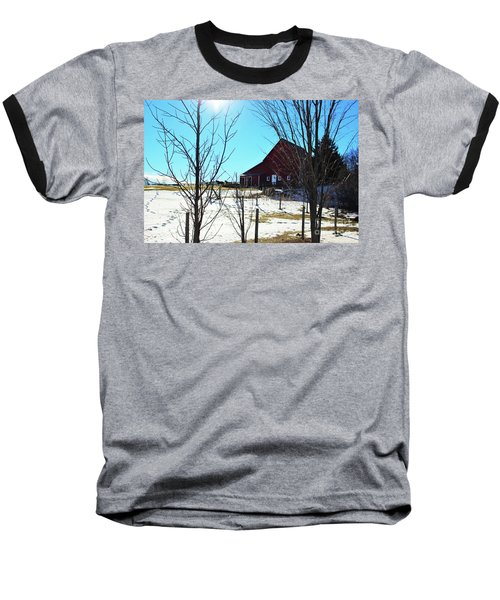 Winter Farm House Baseball T-Shirt