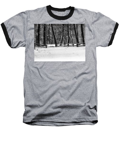 Winter Fences In Black And White  Baseball T-Shirt