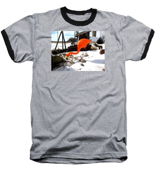 Winter Flamingo Baseball T-Shirt