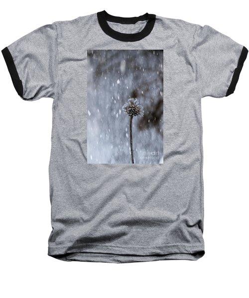 Winter Flower Baseball T-Shirt by Yumi Johnson