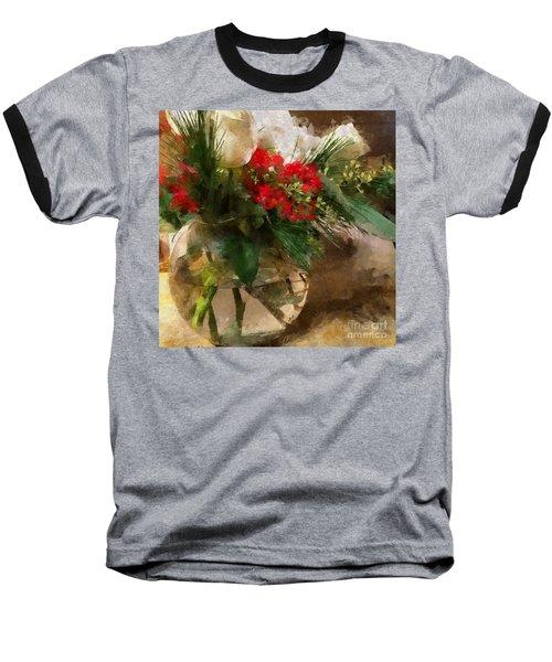 Winter Flowers In Glass Vase Baseball T-Shirt
