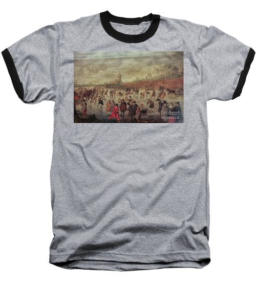 Baseball T-Shirt featuring the photograph Winter Fun Painting By Barend Avercamp by Patricia Hofmeester