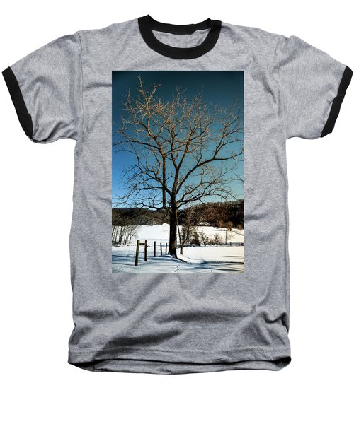 Winter Glow Baseball T-Shirt by Karen Wiles
