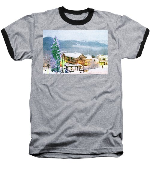 Winter Holiday In The Village Baseball T-Shirt