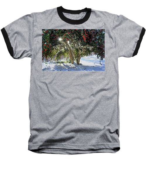 Baseball T-Shirt featuring the photograph Winter Holly by Jessica Brawley