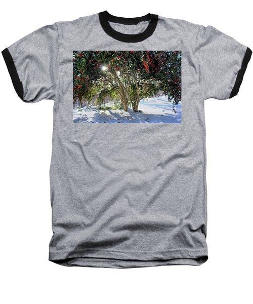 Winter Holly Baseball T-Shirt