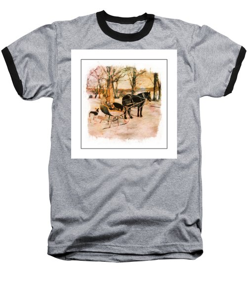 Winter Horse Sled Baseball T-Shirt