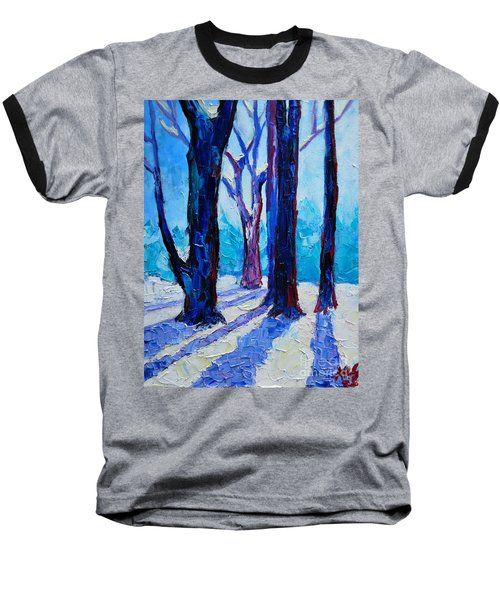 Baseball T-Shirt featuring the painting Winter Impression by Ana Maria Edulescu