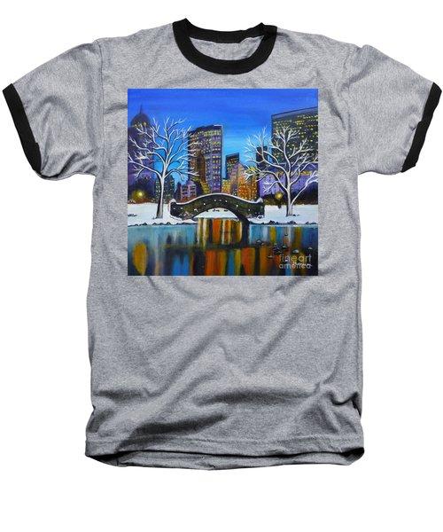 Winter In New York- Night Landscape Baseball T-Shirt