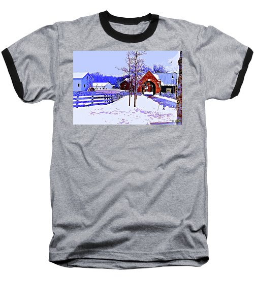 Winter In The Village Baseball T-Shirt