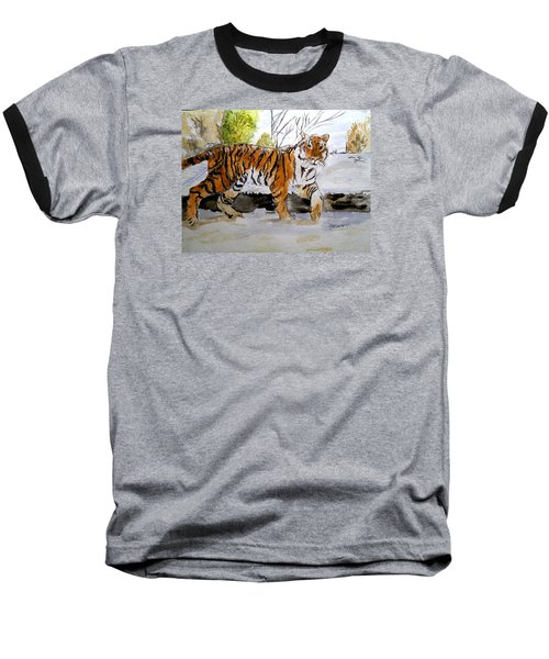Winter In The Zoo Baseball T-Shirt by Carol Grimes