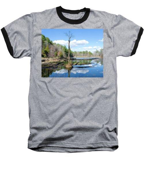 Winter Lake View Baseball T-Shirt by George Randy Bass