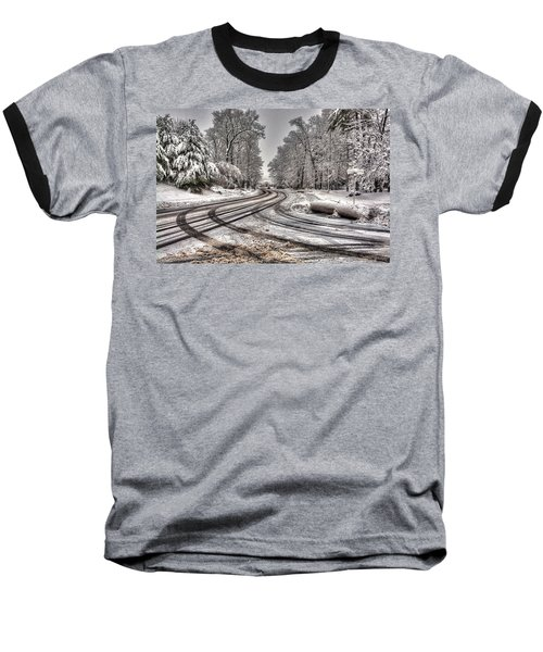 Tracks In The Snow Baseball T-Shirt by Alex Galkin