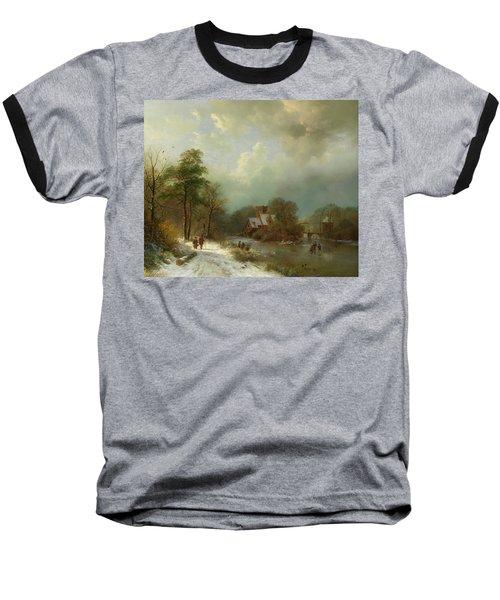 Baseball T-Shirt featuring the painting Winter Landscape - Holland by Barend Koekkoek