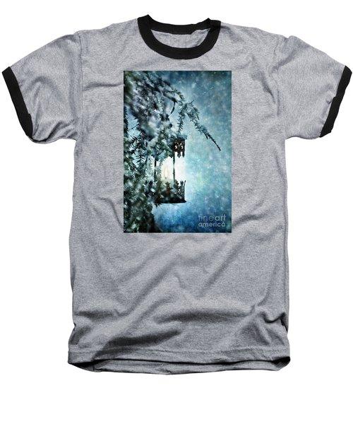 Winter Lantern Baseball T-Shirt by Stephanie Frey