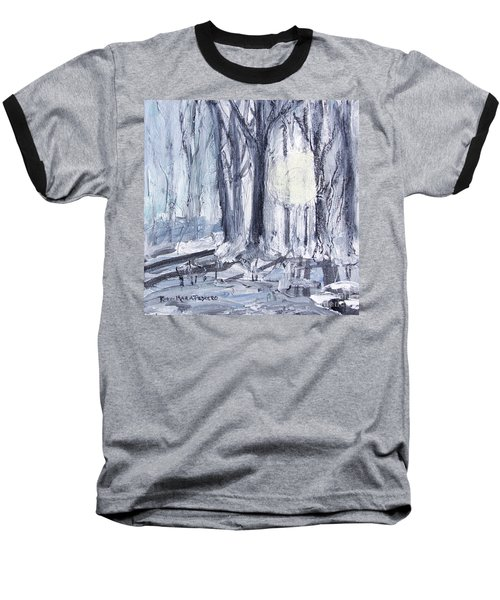 Baseball T-Shirt featuring the painting Winter Light by Robin Maria Pedrero