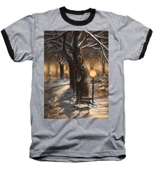 Baseball T-Shirt featuring the painting Winter Magic by Veronica Minozzi
