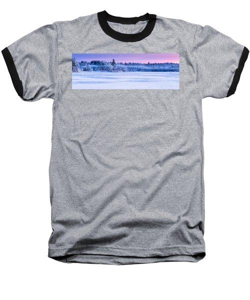 Winter Mist Baxter Lake New Hampshire Baseball T-Shirt