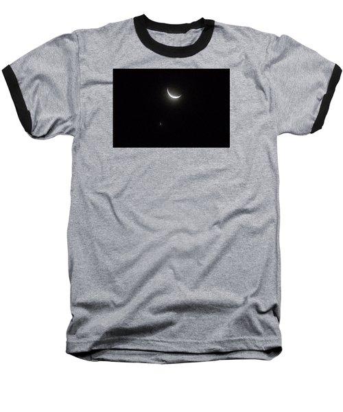 Baseball T-Shirt featuring the photograph Winter Moon Venus Star by Deborah Moen