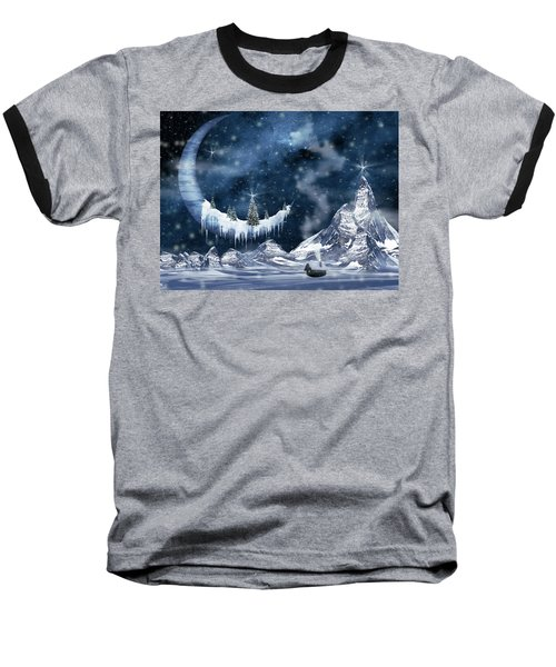 Winter Moon Baseball T-Shirt by Mihaela Pater