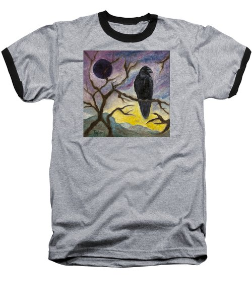 Winter Moon Raven Baseball T-Shirt