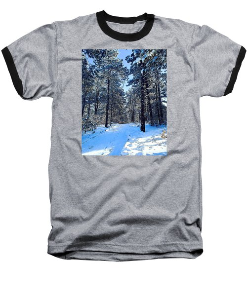 Baseball T-Shirt featuring the digital art Winter Morning by Walter Chamberlain