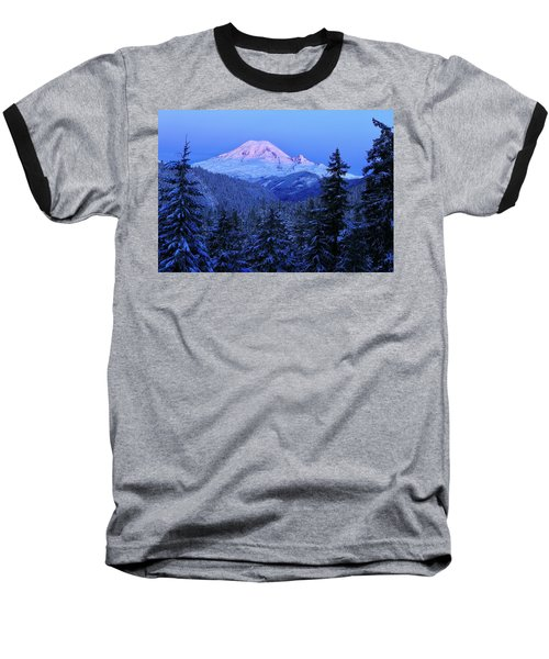 Winter Morning With Mount Rainier Baseball T-Shirt