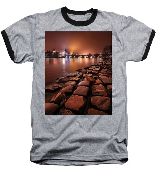 Winter Night Near Charles Bridge In Prague, Czech Republic Baseball T-Shirt