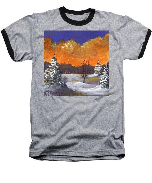 Baseball T-Shirt featuring the painting Winter Nightfall #1 by Anastasiya Malakhova