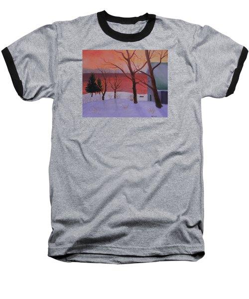 Winter Ocean Sunrise Baseball T-Shirt
