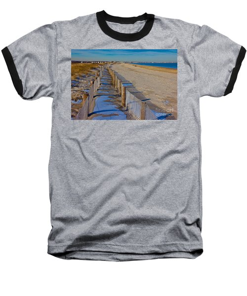 Baseball T-Shirt featuring the photograph Winter On Duxbury Beach by Amazing Jules