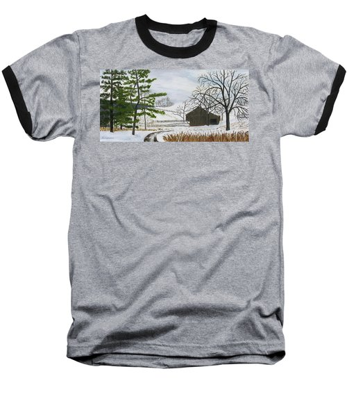 Winter On Hill Crystal Farm Baseball T-Shirt