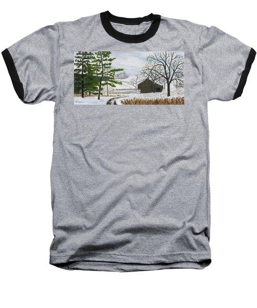 Winter On Hill Crystal Farm Baseball T-Shirt