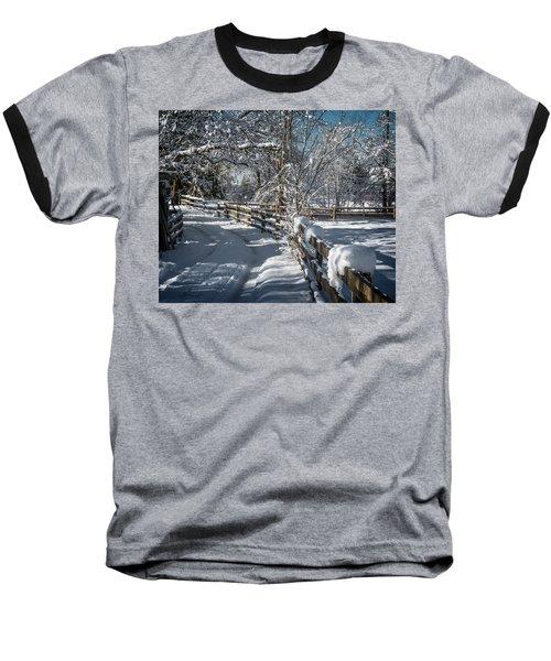 Winter On Ruskin Farm Baseball T-Shirt