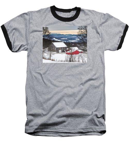 Winter On The Farm On The Hill Baseball T-Shirt