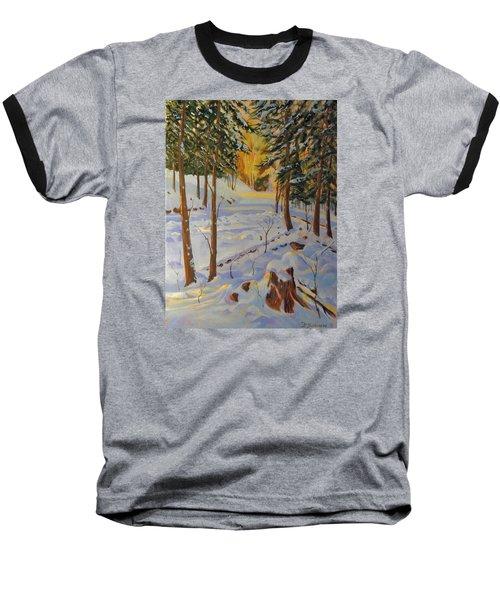 Winter On The Lane Baseball T-Shirt