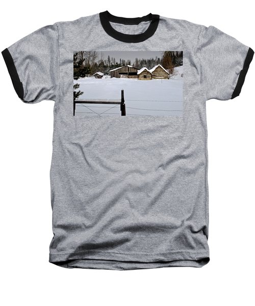 Winter On The Ranch Baseball T-Shirt