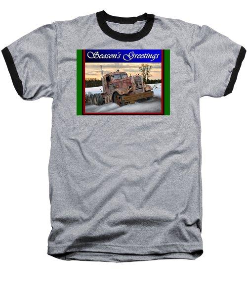 Winter Pete Season's Greetings Baseball T-Shirt by Stuart Swartz