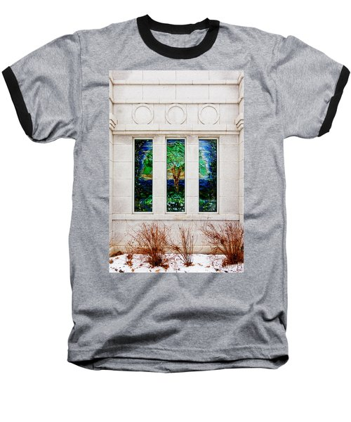 Winter Quarters Temple Tree Of Life Stained Glass Window Details Baseball T-Shirt