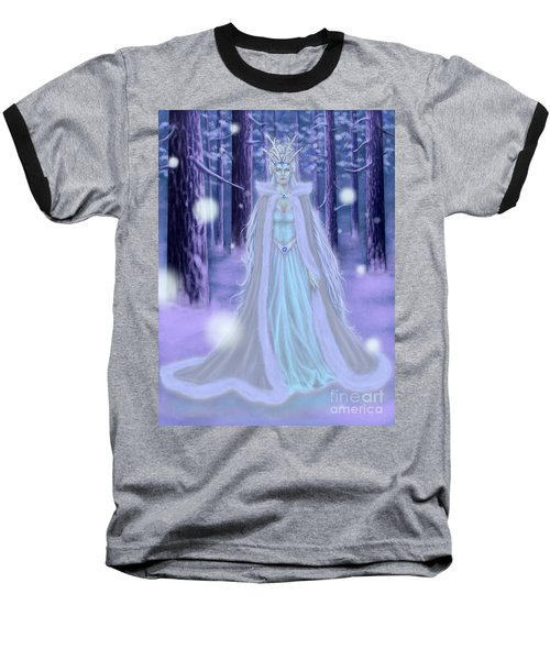Baseball T-Shirt featuring the painting Winter Queen by Amyla Silverflame