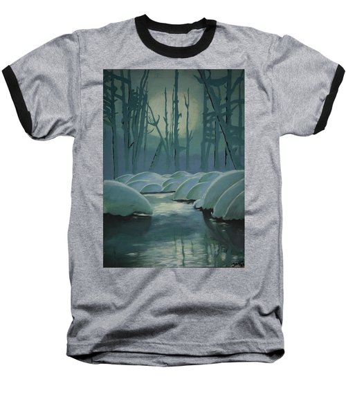 Baseball T-Shirt featuring the painting Winter Quiet by Jacqueline Athmann